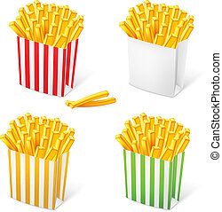 French fries in a multi-colored striped packaging....