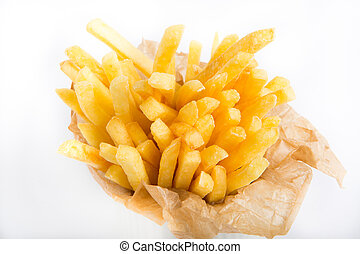 French fries in a paper wrapper