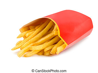French fries in a red carton box isolated