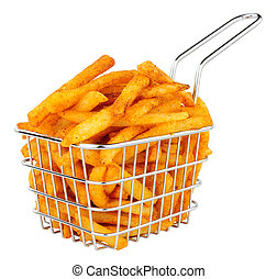 French Fries In A Small Wire Frying Basket - French fries in...