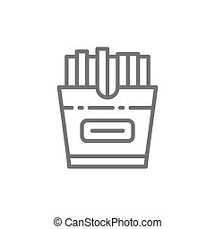 French fries in box, takeaway line icon.