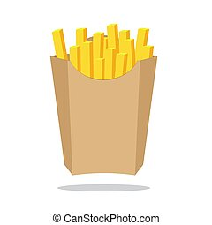 French fries in paper box, isolated. Fast food in a package.