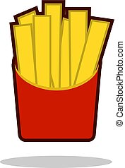 French fries in paper box, isolated icon. Fast food concept. Vector illustration