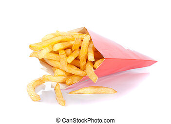 french fries in paper box isolated on white