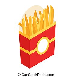 French fries in paper box, isolated. Vector illustration, flat design. French fries fast food in a red package.