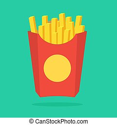 French fries in paper box, isolated. Vector illustration, flat design with shadow. Fast food in a package.