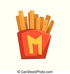 French fries in paper red box vector Illustration on a white background