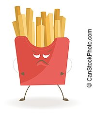 French fries in red cardboard box with angry face