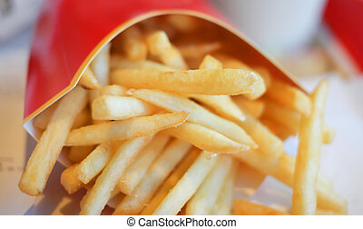 french fries in red carton pack