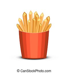 Fast food french fries in paper pac