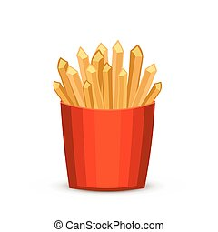French fries in red package. Fast food french fries in paper pac