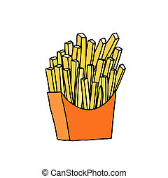 French fries in red paper pack. Hand drawn sketch. ...