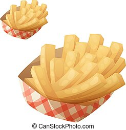 French fries in the paper basket. Detailed vector icon...