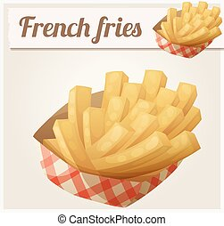 French fries in the paper basket. Detailed vector icon....