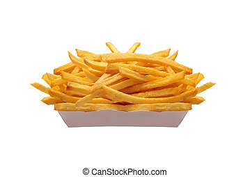 French fries in white box isolated on white