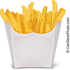 French fries isolated - Fast junk food french fries in paper...