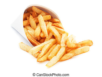 French fries isolated on white - French fries, fried potato...