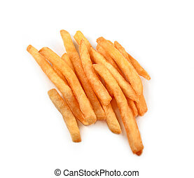 French fries isolated - Appetizing, gold French fries -...