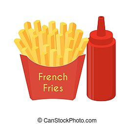 French fries, ketchup, fried potato. Cartoon flat style. Vector illustration