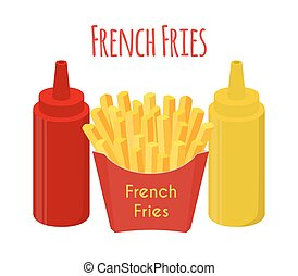 French fries, ketchup, mustard, fried potato. Cartoon flat style. Vector