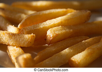 French fries light through blinds