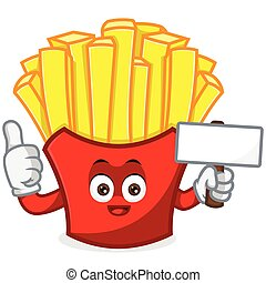 French Fries Mascot cartoon illustration hold blank sign and give thumb up