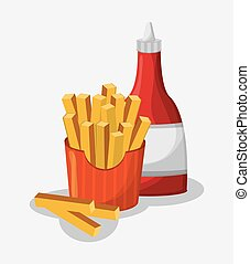 French fries of fast food concept