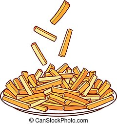french fries on a plate (bowl of french fries)