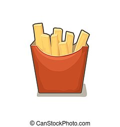 French fries potato in red paper Box. Isolated on white background with shadow. Vector flat illustration for poster, menus, web, banner, icon.