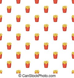 french fries potato in red paper box icon in cartoon style on a