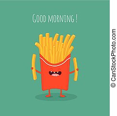French fries rejoice and laugh. Vector illustration.