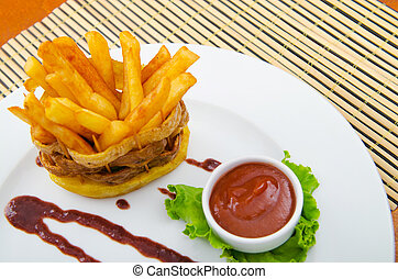 French fries served with ketchup