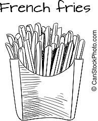 French Fries sketch, hand drawn fast food VECTOR illustrtion. Outline sketch. Black lines.