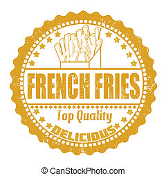 French fries stamp - French fries grunge rubber stamp on...