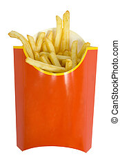 French fries - isolated box of  French fries