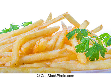 french fries in close shot with parsley