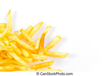 French fries chips on isolated white background