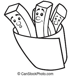 French Fries - Black and White Cartoon illustration, Vector