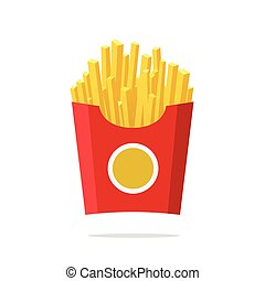 French fries vector illustration, fried potatoes in paper box isolated