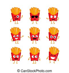 French Fries - vector set of mascot illustrations.