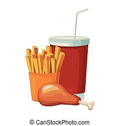french fries with chicken thigh and drink cup