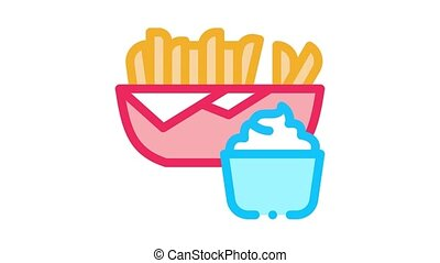french fries with mayonnaise sauce Icon Animation. color french fries with mayonnaise sauce animated icon on white background