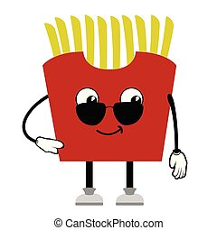 French fries with sunglasses emote. Fast food