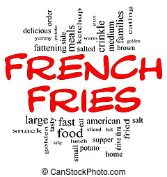 French Fries Word Cloud Concept in black & red