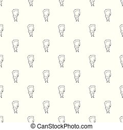 French girl pattern vector seamless