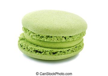 French green macaron on white
