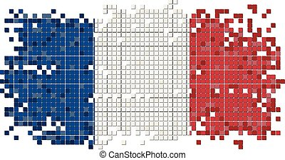 French grunge tile flag. Vector