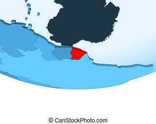 French Guiana in red on blue map