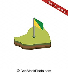 French Guiana Isometric map and flag. Vector Illustration.