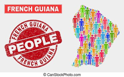 French Guiana Map Population Demographics and Grunge Seal